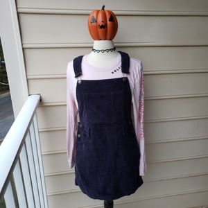 Navy corduroy overall dress by American Apparel